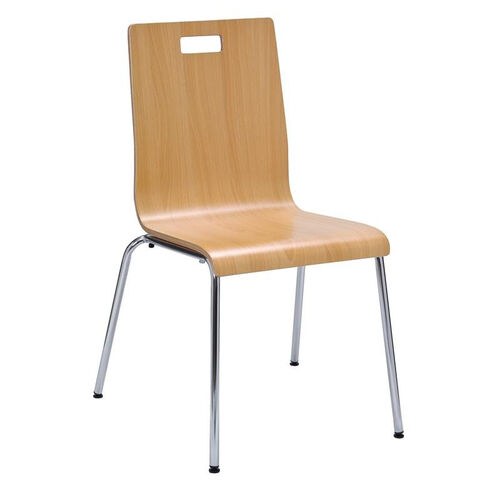 Our JIVE Series Stacking Bentwood Armless Cafe Chair with HPL Surface and Silver Steel Frame - Natural is on sale now.