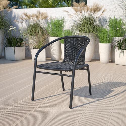 Black Rattan Indoor-Outdoor Restaurant Stack Chair