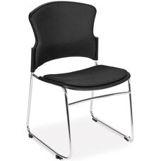 Multi-Use Stack Chair with Fabric Seat and Back - Black