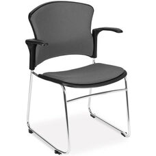 Multi-Use Stack Chair with Fabric Seat and Back with Arms - Gray