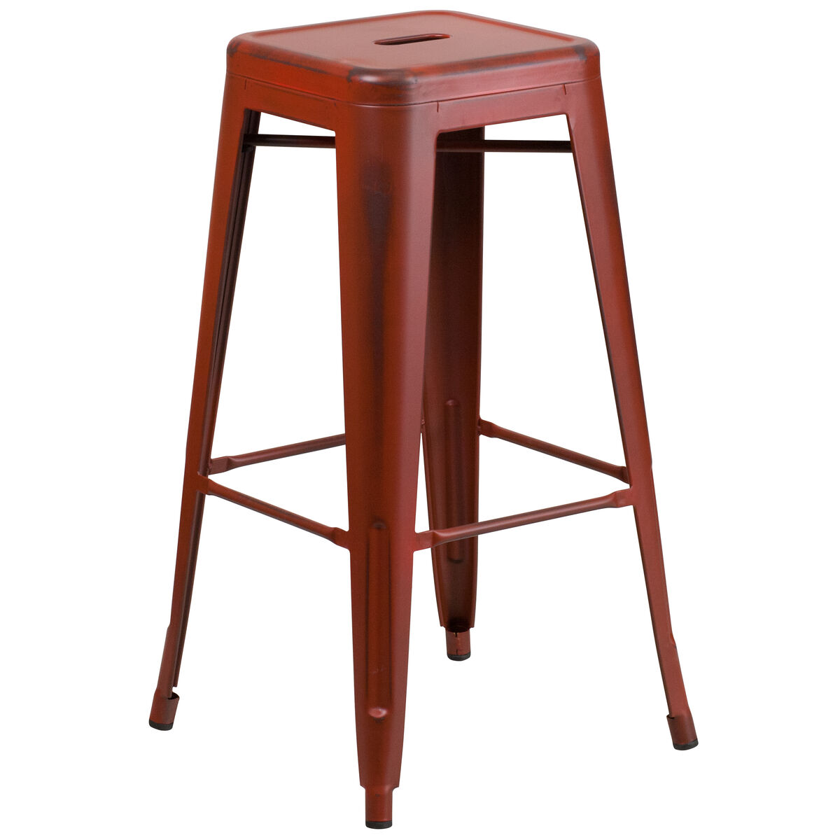 Flash Furniture 30 High Backless Distressed Kelly Red