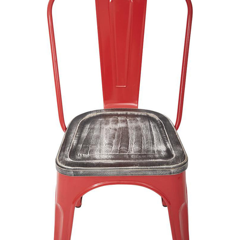 ... Our OSP Designs Bristow Metal Chair With Vintage Wood Seat   Set Of 2    Red