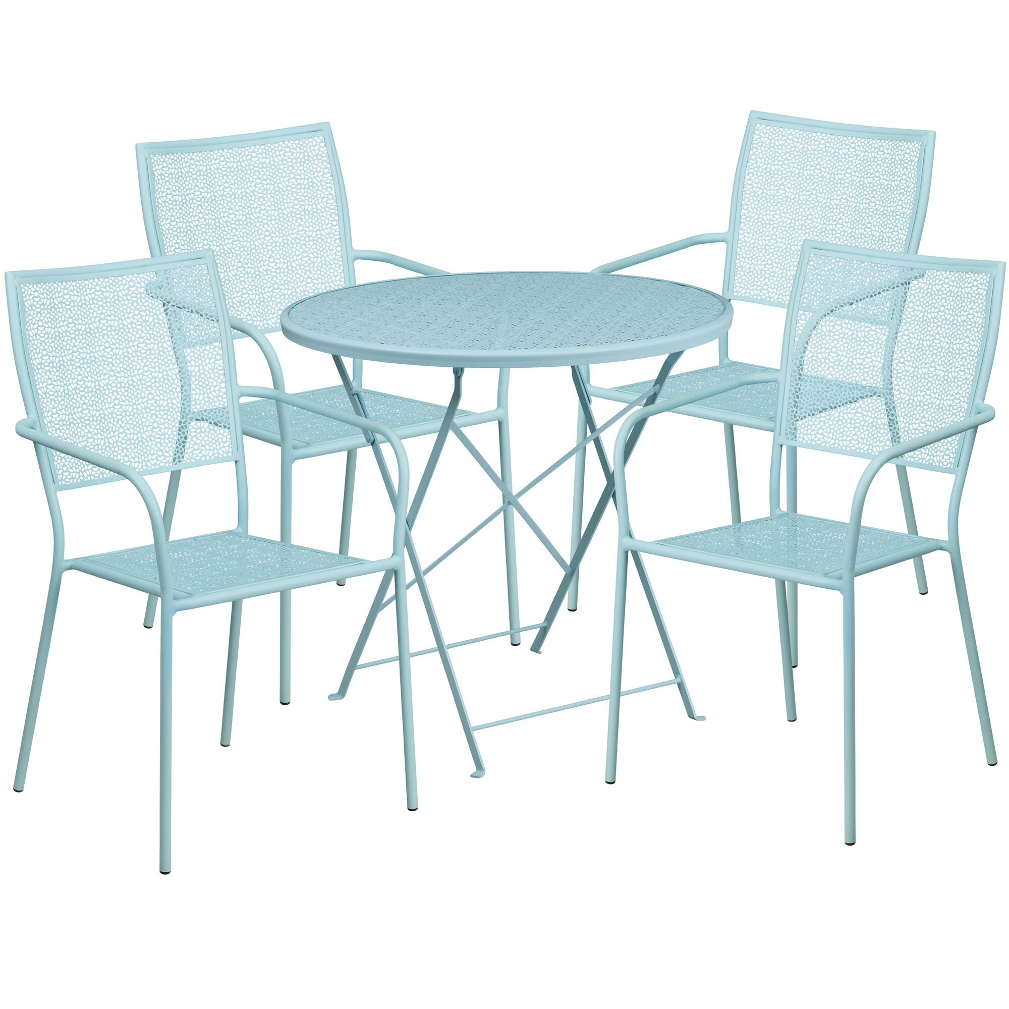 Admirable Commercial Grade 30 Round Sky Blue Indoor Outdoor Steel Folding Patio Table Set With 4 Square Back Chairs Bralicious Painted Fabric Chair Ideas Braliciousco