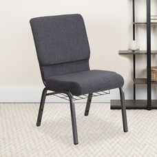 HERCULES™ Series Auditorium Chair - Chair with Storage - 19inch Wide Seat - Dark Gray Fabric/Silver Vein Frame