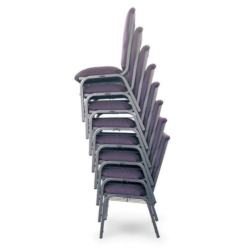 Auditorium Steel Frame Fabric Upholstered Stacking Chair - Purple