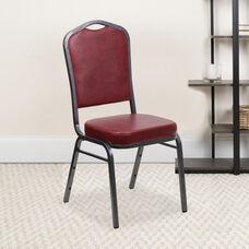 HERCULES Series Crown Back Stacking Banquet Chair in Burgundy Vinyl - Silver Vein Frame