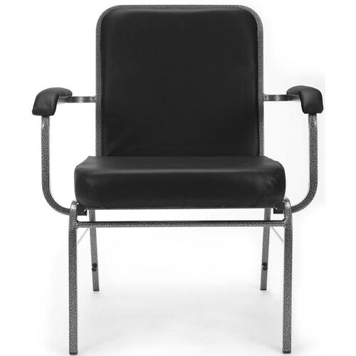 Our Comfort Class Big & Tall 500 lb. Capacity Anti-Microbial and Anti-Bacterial Vinyl Stack Chair with Arms- Black is on sale now.
