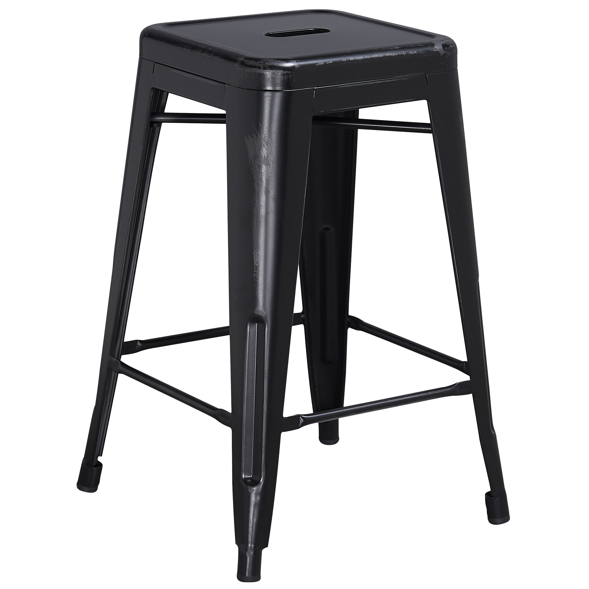 Enjoyable Commercial Grade 24 High Backless Distressed Black Metal Indoor Outdoor Counter Height Stool Gamerscity Chair Design For Home Gamerscityorg
