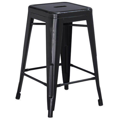 """Our Commercial Grade 24"""" High Backless Distressed Black Metal Indoor-Outdoor Counter Height Stool is on sale now."""