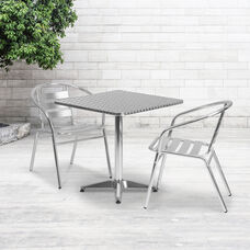 27.5'' Square Aluminum Indoor-Outdoor Table Set with 2 Slat Back Chairs