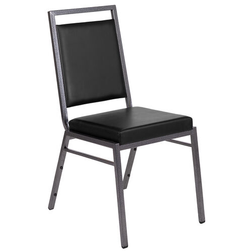 Our HERCULES Series Square Back Stacking Banquet Chair in Black Vinyl with Silvervein Frame is on sale now.