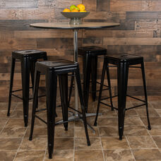 "30"" High Metal Indoor Bar Stool in Black - Stackable Set of 4"