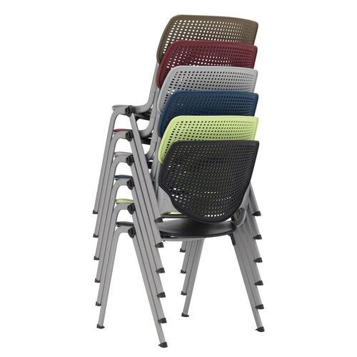 Our 2300 KOOL Series Stacking Poly Armless Chair with Perforated Back and Silver Frame - Brownstone is on sale now.