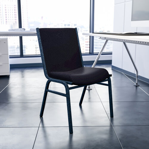 HERCULES Series Heavy Duty Black Dot Fabric Stack Chair