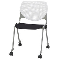2300 KOOL Series Stacking Poly Silver Steel Frame Armless Chair with White Perforated Back and Casters - Black Seat