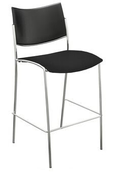 Bistro Escalate Stool with Plastic Back and Fabric Cushion Seat - Set of 2 - Black