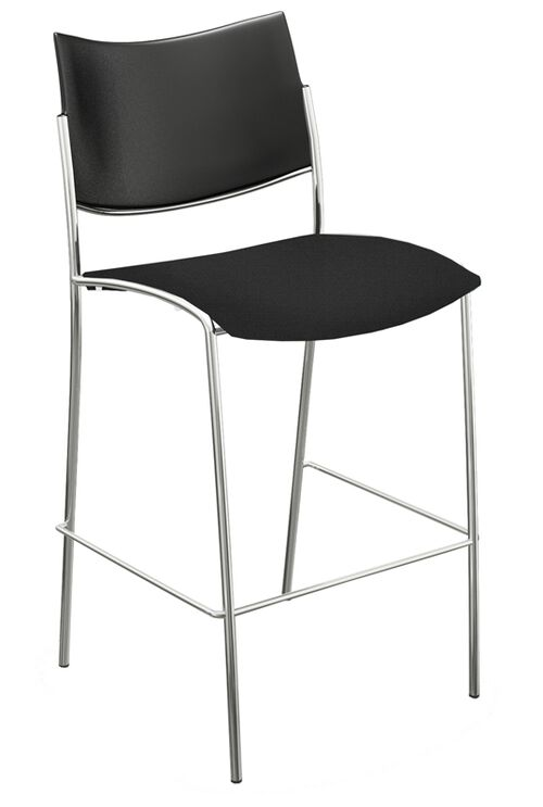 Our Bistro Escalate Stool with Plastic Back and Fabric Cushion Seat - Set of 2 - Black is on sale now.
