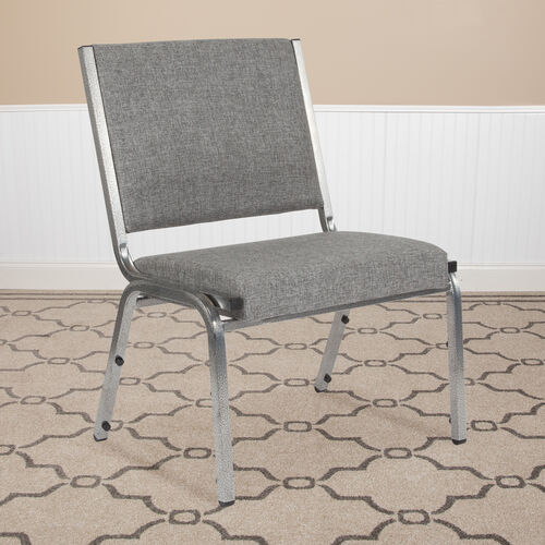 HERCULES Series 1500 lb. Rated Gray Antimicrobial Fabric Bariatric Antimicrobial Medical Reception Chair