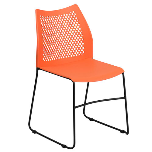 Our HERCULES Series 661 lb. Capacity Orange Sled Base Stack Chair with Air-Vent Back is on sale now.