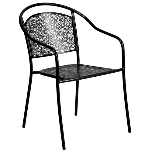 Our Commercial Grade Black Indoor-Outdoor Steel Patio Arm Chair with Round Back is on sale now.