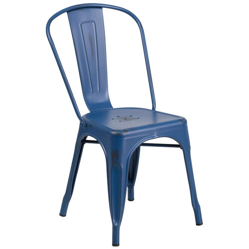 Our Commercial Grade Distressed Antique Blue Metal Indoor-Outdoor Stackable Chair is on sale now.