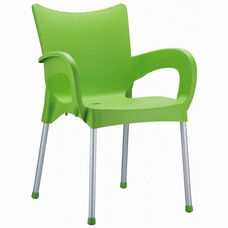 Romeo Outdoor Resin Stackable Dining Arm Chair with Aluminum Legs - Apple Green