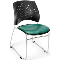 Stars Stack Chair with Vinyl Seat - Teal