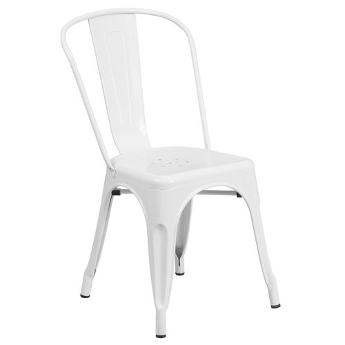 Our Commercial Grade White Metal Indoor-Outdoor Stackable Chair is on sale now.