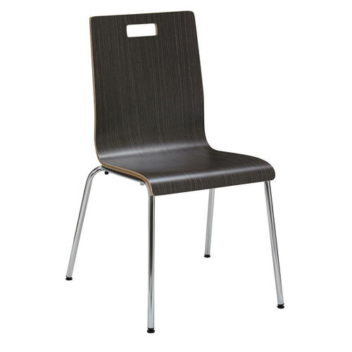 Our JIVE Series Stacking Bentwood Armless Cafe Chair with HPL Surface and Silver Steel Frame - Espresso is on sale now.