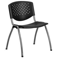 HERCULES Series 880 lb. Capacity Black Plastic Stack Chair with Titanium Gray Powder Coated Frame