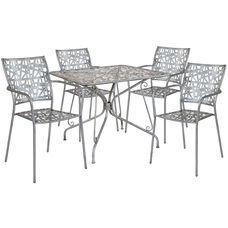 "Agostina Series 35.25"" Square Antique Silver Indoor-Outdoor Steel Patio Table with 4 Stack Chairs"