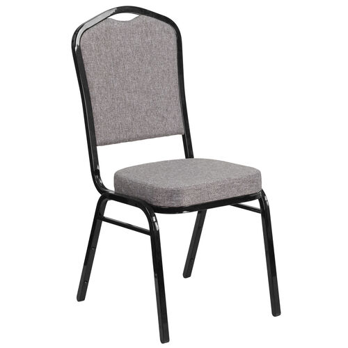 Our HERCULES Series Crown Back Stacking Banquet Chair in Gray Fabric - Black Frame is on sale now.