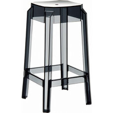 Fox Polycarbonate Stackable Backless Counter Stool - Transparent Black