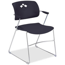 Safco Black Flex Back Plastic Stacking Chair with Arms and Steel Frame - Set of 4