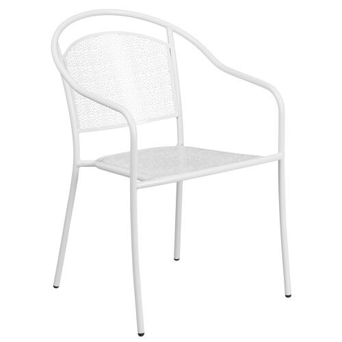Our Commercial Grade White Indoor-Outdoor Steel Patio Arm Chair with Round Back is on sale now.