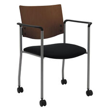 1300 Series Stacking Guest Armchair with Chocolate Wood Back and Casters - Grade 3 Upholstered Seat