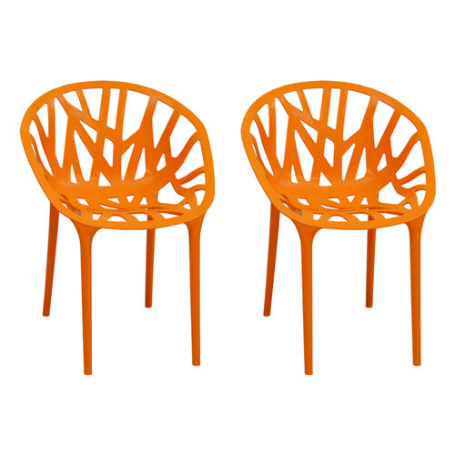 Our Branch Stackable Outdoor Orange Accent Chair - Set of 2 is on sale now.