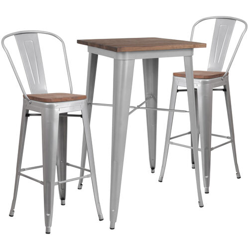 """Our 23.5"""" Square Silver Metal Bar Table Set with Wood Top and 2 Stools is on sale now."""