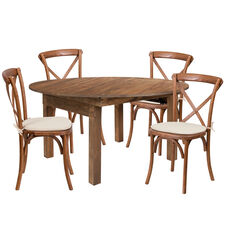 HERCULES Series 5-Foot Round Solid Pine Folding Farm Dining Table Set with 4 Cross Back Chairs and Cushions
