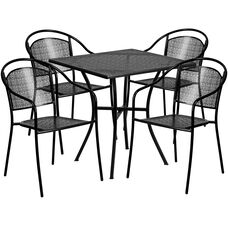 "Commercial Grade 28"" Square Black Indoor-Outdoor Steel Patio Table Set with 4 Round Back Chairs"