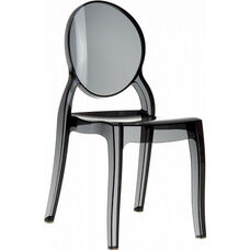 Elizabeth Polycarbonate Stackable Dining Chair with Oval Back - Transparent Black