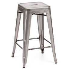 Dreux Clear Gunmetal Steel Stackable Counter Stool - Set of 4