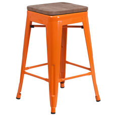 "24"" High Backless Orange Metal Counter Height Stool with Square Wood Seat"