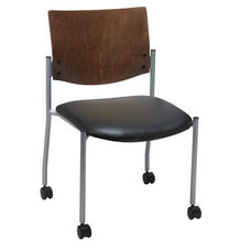 1300 Series Stacking Armless Guest Chair with Chocolate Wood Back and Casters - Vinyl Seat