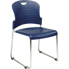 Work Smart Chrome Frame Sled Base Stack Chair with Plastic Seat and Back - Set of 2 - Navy