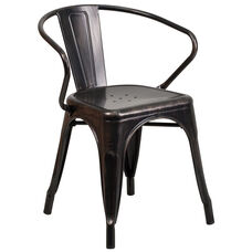 Black-Antique Gold Metal Indoor-Outdoor Chair with Arms
