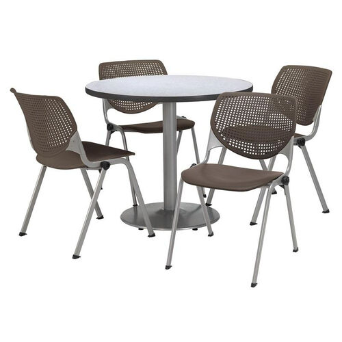 Our Round Laminate Table Set with Brownstone Finish Poly Stack Chairs - Seats 4 is on sale now.