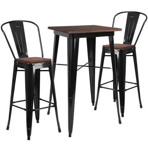 """Our 23.5"""" Square Black Metal Bar Table Set with Wood Top and 2 Stools is on sale now."""
