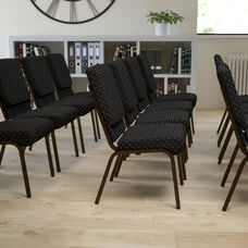 HERCULES Series 18.5''W Stacking Church Chair in Black Dot Patterned Fabric - Gold Vein Frame
