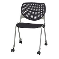 2300 KOOL Series Stacking Poly Silver Steel Frame Armless Chair with Perforated Back and Casters - Black